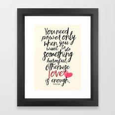 Love is enough - Chaplin sentence Illustration Framed Art Print