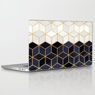 White & Navy Cubes Laptop & iPad Skin