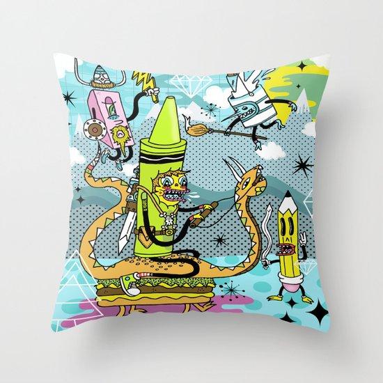 The Great Doodle Warriors Throw Pillow