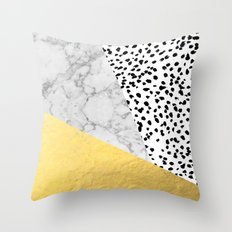 Marble Gold Dots - modern hipster trendy shiny gold foil cell phone case iphone dorm college Throw Pillow