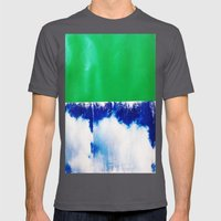 SKY/GRN Mens Fitted Tee Asphalt SMALL
