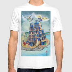 Walking the Tower of Babylon SMALL White Mens Fitted Tee