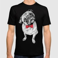 Percy Pug Mens Fitted Tee Black SMALL