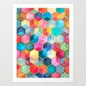 Crystal Bohemian Honeycomb Cubes - colorful hexagon pattern  Art Print