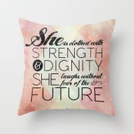 Throw Pillow featuring Proverbs 31 She Is...  by Pocket Fuel