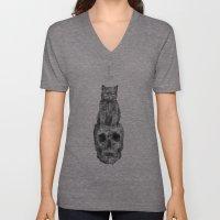 The Cat, The Skull, The Cross Unisex V-Neck