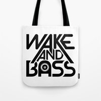 Wake And Bass (Black) Tote Bag