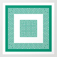 Greek Key Emerald Art Print