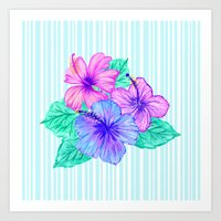 Hibiscus and Stripes Art Print