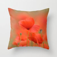 Common red poppies 1876 Throw Pillow