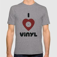 I Heart Vinyl Mens Fitted Tee Athletic Grey SMALL