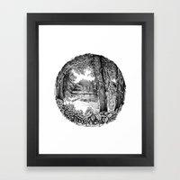Trees near the river Framed Art Print