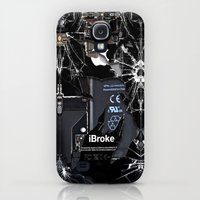 Galaxy S4 Cases featuring Broken, rupture, damaged, cracked black apple iPhone 4 5 5s 5c, ipad, pillow case and tshirt by Three Second
