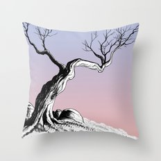 Tree with Rocks Throw Pillow
