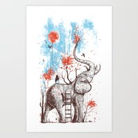 elephants Art Prints featuring A Happy Place by Norman Duenas