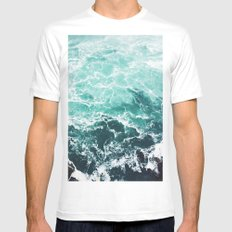 Blue Water White Mens Fitted Tee SMALL