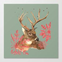 Forest Royalty, Stag, Deer, Christmas Stag, Woodland animals Canvas Print