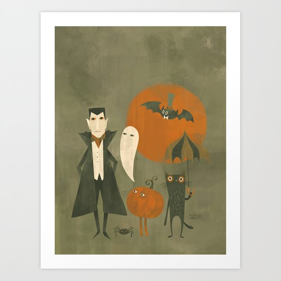 Sunday's Society6 | Halloween party, vampire, ghost, pumpkin, bat and spider art print