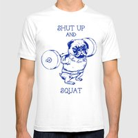 Pug Squat Mens Fitted Tee White SMALL