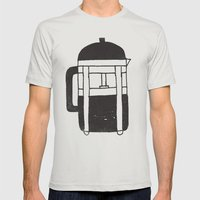 FRENCH PRESS Mens Fitted Tee Silver SMALL
