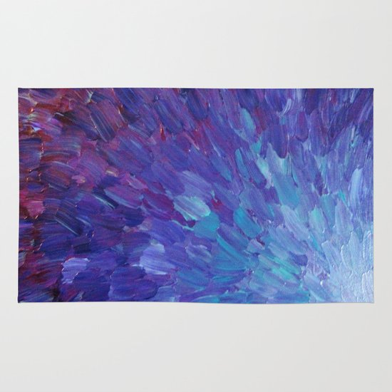 SCALES OF A DIFFERENT COLOR - Abstract Acrylic Painting Eggplant Sea Scales Ocean Waves Colorful Area & Throw Rug