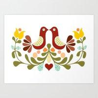 Vector folk art design Art Print