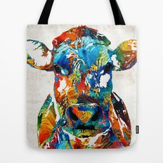 Colorful Cow Art - Mootown - By Sharon Cummings Tote Bag