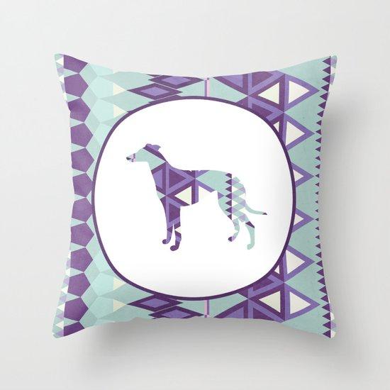 Greyhound Geometri Throw Pillow