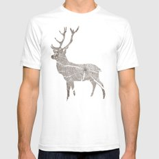 Wood Grain Stag Mens Fitted Tee SMALL White