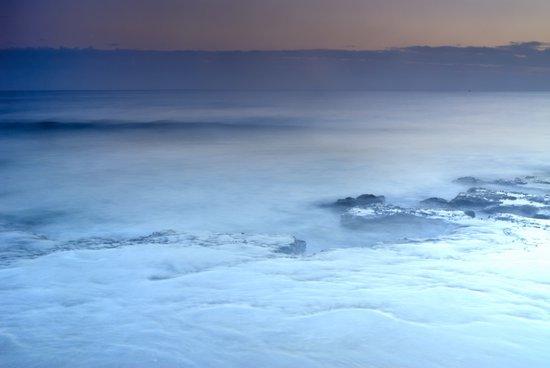 purple sea at sunset Art Print