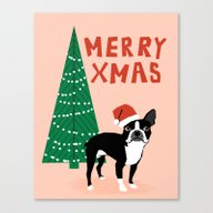 Boston Terrier Xmas - Ch… Canvas Print