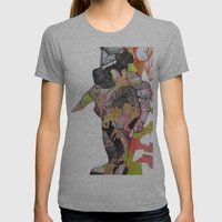 Dino-man Womens Fitted Tee Athletic Grey SMALL