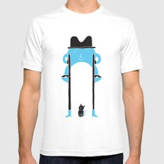 Mr Blue Boy SMALL Mens Fitted Tee White