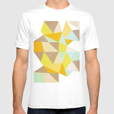 Geometric Warm SMALL Mens Fitted Tee White