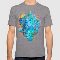 Fire Lion Mens Fitted Tee Tri-Grey SMALL
