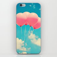 Pink Balloons on Deep Blue  iPhone & iPod Skin
