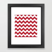 Red and White Bold Chevron Stripes Framed Art Print