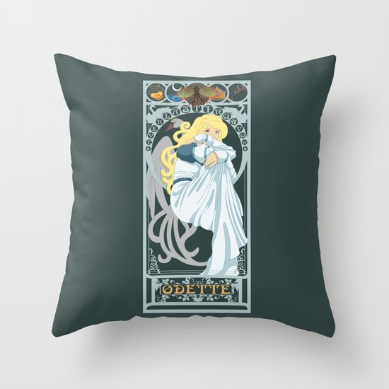 Odette Nouveau - Swan Princess Throw Pillow
