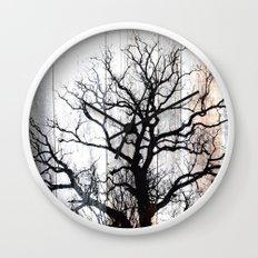 Tree Silhouette on Wood Wall Clock