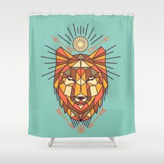 Geometric Wolf Shower Curtain