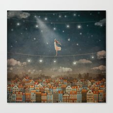 Illustration of  cute houses and  pretty girl   in night sky Canvas Print