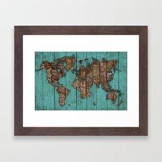 Wood Map Framed Art Print
