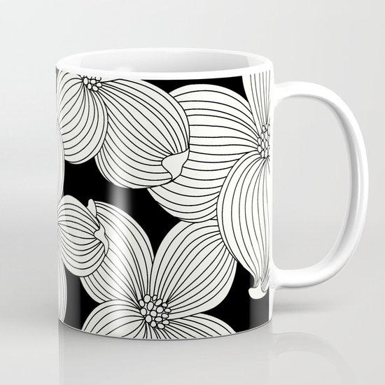 Dogwood Floral Linear: Ivory on Black  Mug