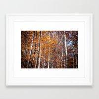 Golden Brown Leaves Framed Art Print