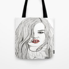 Georgia with Red Lips Tote Bag