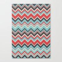 Aztec Chevron Pattern- G… Canvas Print
