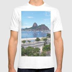 Rio de Janeiro Landscape Mens Fitted Tee SMALL White