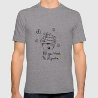 Happy Cupcake Mens Fitted Tee Athletic Grey SMALL