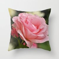 Wet and pink beauty Throw Pillow
