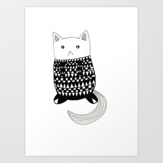 Cat with pattern  Art Print